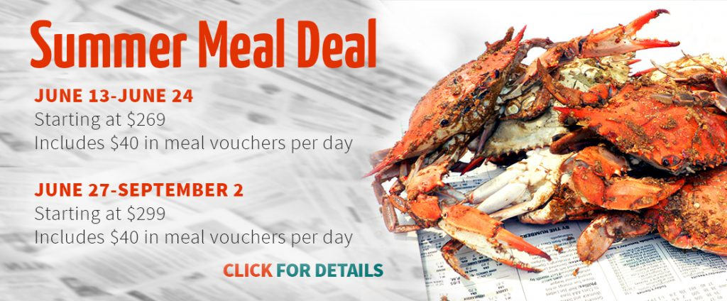 Summer Meal Deal details and image of steamed crabs